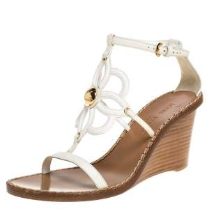 Louis Vuitton White Leather Strappy Wedge Sandals Size 37.5