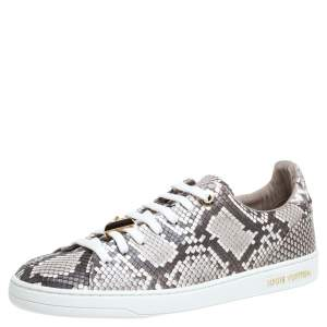 Louis Vuitton Two Tone Python Leather Front Row Lace Up Sneakers Size 36.5