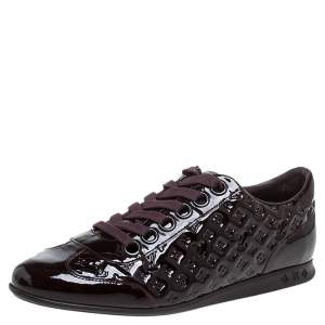 Louis Vuitton Burgundy Patent Monogram Leather Low Top Sneakers Size 40