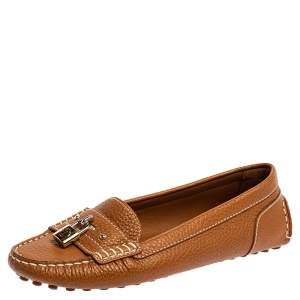 Louis Vuitton Brown Leather Lock Detail Slip On Loafers Size 38