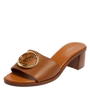 Louis Vuitton Brown Leather Lock It Slide Sandals Size 40