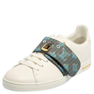 Louis Vuitton White Leather And Monogram Canvas Frontrow Lock Low Top Sneakers Size 41