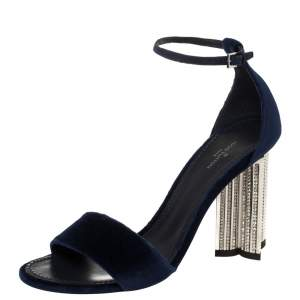Louis Vuitton Navy Blue Velvet Silhouette Crystal Embellished Sandals Size 37.5