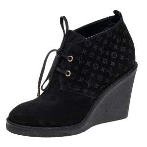 Louis Vuitton Black Monogram Suede Wedge Ankle Boots Size 36.5