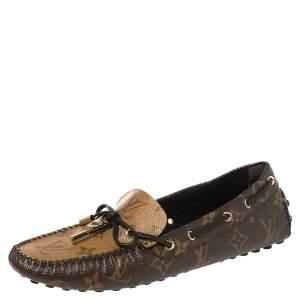 Louis Vuitton Brown Monogram Canvas Gloria Flat Loafers Size 39