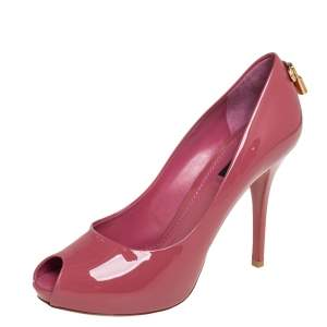 Louis Vuitton Pink Patent Leather Oh Really! Peep Toe Pumps Size 38.5