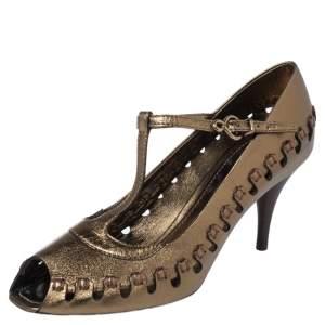 Louis Vuitton Metallic Bronze Leather T-Bar Cut Out Peep Toe Pumps Size 38