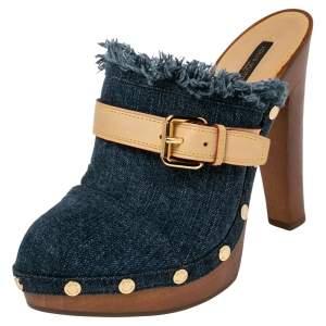 Louis Vuitton Denim and Leather Trim Buckle Platform Mules Size 38