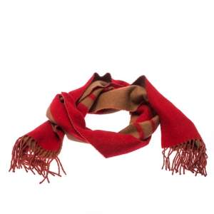 Louis Vuitton Red and Camel Cashmere Fringe Trim Baroda Scarf
