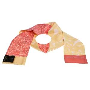 Louis Vuitton Pink & Yellow Printed Silk Bandeau Scarf