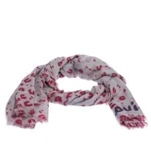 Louis Vuitton Grey & Pink Leopard Confetti Print Cashmere Silk Scarf