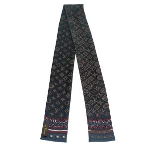 Louis Vuitton Navy Blue Monogram Map Silk Bandeau Scarf
