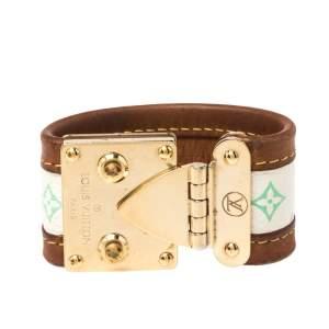 Louis Vuitton Beige Multicolor Monogram Canvas Leather S Lock Wide Cuff Bracelet