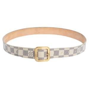 Louis Vuitton Damier Azur Canvas Tresor Belt Size 80CM