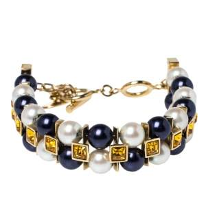 Louis Vuitton Gold Tone Faux Pearl & Crystal Cry Me a River Bracelet