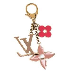 Louis Vuitton Fleur de Monogram Multi Color Enamel Gold Tone Bag Charm & Key Holder