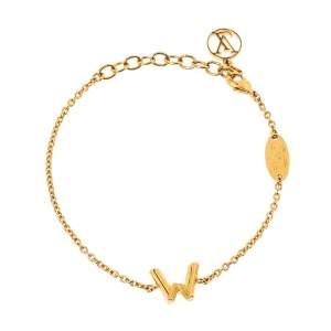 Louis Vuitton LV & Me W Charm Gold Tone Bracelet