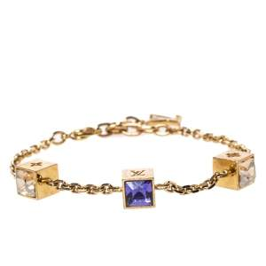 Louis Vuitton Gamble Crystal Gold Tone Station Bracelet