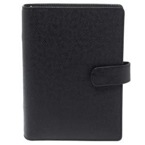 Louis Vuitton Black Leather Medium Ring Agenda Cover