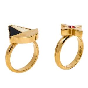 Louis Vuitton Float Your Boat and Clover Enamel Crystal Gold Tone Set of Two Rings Size 57