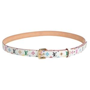 Louis Vuitton White Multicolor Monogram Canvas Skinny Belt 90 CM