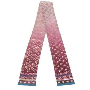 Louis Vuitton Burgundy & Pink Silk Monogram Map Bandeau Scarf