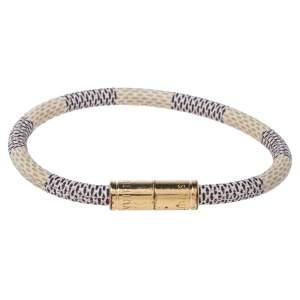 Louis Vuitton Damier Azur Canvas Gold Tone Keep It Bracelet