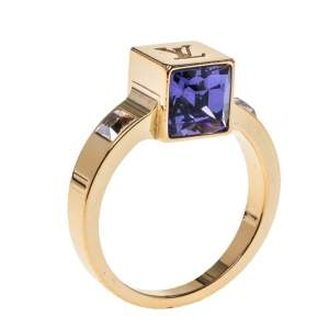 Louis Vuitton Gamble Crystal Gold Tone Ring Size 53