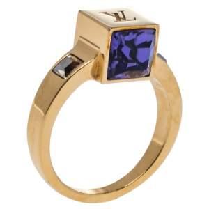 Louis Vuitton Gamble Crystal Gold Tone Ring Size EU 53