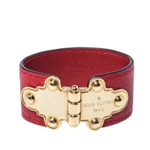 Louis Vuitton Save It Red Leather Gold Tone Bracelet