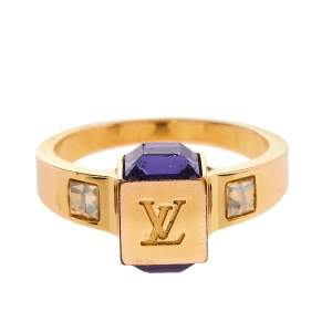 Louis Vuitton Gamble Crystal Gold Tone Ring Size 57