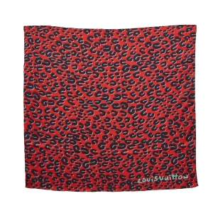 Louis Vuitton x Stephen Sprouse Red Leopard Print Silk Scarf