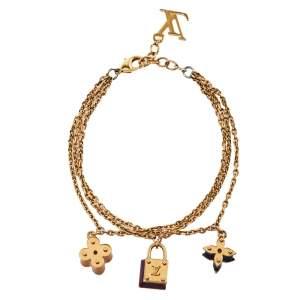 Louis Vuitton Enamel Sweet Charm Gold Tone Multi Chain Bracelet