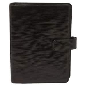 غطاء أجندة لوي فيتون حلقات متوسطة جلد إيبي أسود