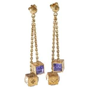 Louis Vuitton Gamble Crystal Gold Tone Dangle Earrings
