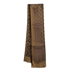 Louis Vuitton Brown Monogram Silk & Wool Shine Shawl