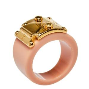 Louis Vuitton Lock Me Blush Pink Resin Gold Tone Ring M