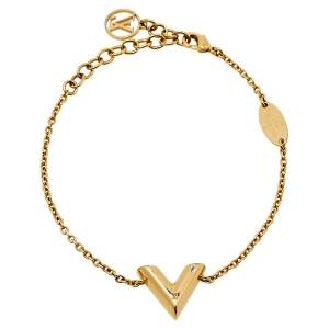 Louis Vuitton Essential V Gold Tone Chain Link Bracelet
