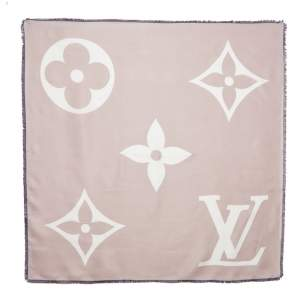Louis Vuitton Rose Giant Id Silk Square Scarf