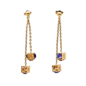 Louis Vuitton Gamble Crystal Gold Tone Dangle Earrings