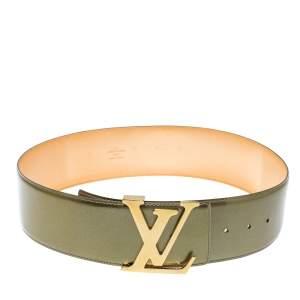 حزام لوي فيتون عريض مزين الحرف الأولى للماركة أل ڨي جلد لامع أخضر 75 سم