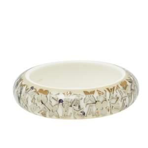 Louis Vuitton White Inclusion Wide Bangle Bracelet