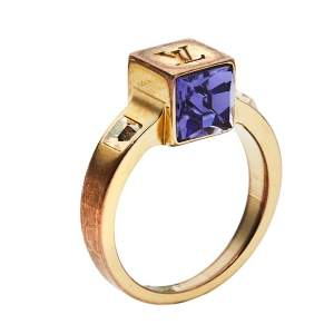 Louis Vuitton Gamble Crystal Gold Tone Ring M