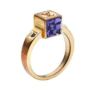 خاتم لوي فيتون لون ذهبي كريستال غامبل مقاس متوسط