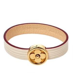 Louis Vuitton Cream Epi Leather Flower Action Bracelet