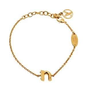 Louis Vuitton Gold Tone LV & Me Letter 'N' Bracelet