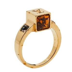Louis Vuitton Gold Tone Crystal Gamble Ring Size M