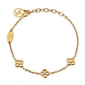 Louis Vuitton Gold Tone Flower Full Bracelet