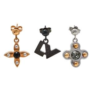 Louis Vuitton Three Tone Love Letters Set of Three Earrings