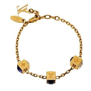 Louis Vuitton Crystal Gold Tone Gamble Bracelet